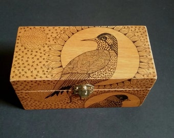 Trinket box,keepsake box,Art,box,art box,illustration, ink,drawing,one-of-kind, Bird, trinket, treasure, keepsake, original.