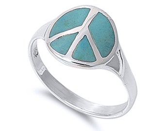 Men Women 13mm 925 Silver Simulated Turquoise Peace Sign Statement Ring Band(SNRS130626-TQ)