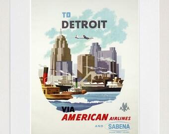 Detroit Art Travel Poster Print Michigan Home Wall Decor (XR347)