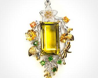 Woodland Grove' Huge Citrine Sapphire Chrome Diopside Sterling Silver 14kt Gold Pendant -