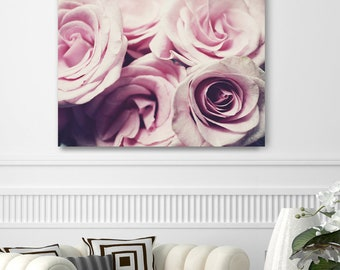 "Canvas Wall Art - Pink Rose Photography Wall Art - Floral Bedroom Wall Decor - Cottage Chic Pink Wall Art - Canvas Wrap ""Pastel Roses"""