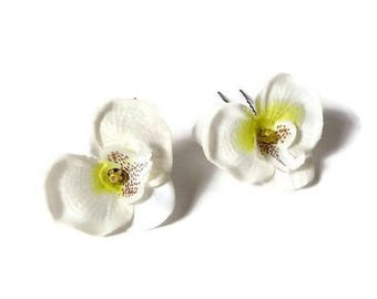 2 pin white Orchid hair pins hair accessories wedding ceremony