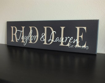 "Personalized family name sign Established in sign 7""x24"""