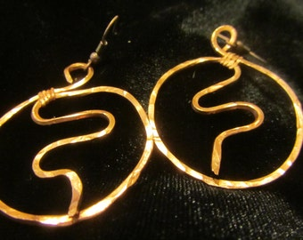 Copper Hammered earrings