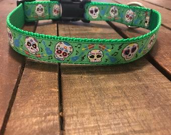 "1"" Calavera Day of the Dead Sugar Skull Collar - Green"