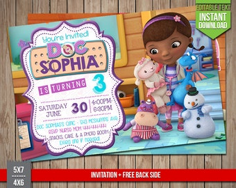 85 OFF Doc McStuffins Invitation INSTANT DOWNLOAD Doc