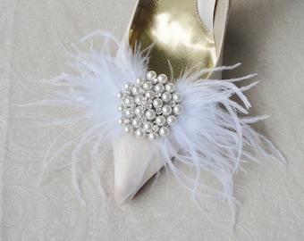 Hochzeit Braut-Weiß Straußenfeder und Strass Schuhclips