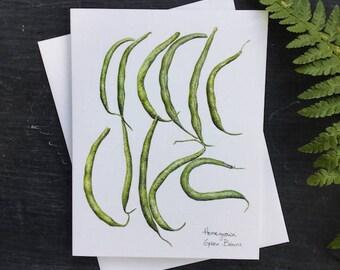 Green beans - greeting card