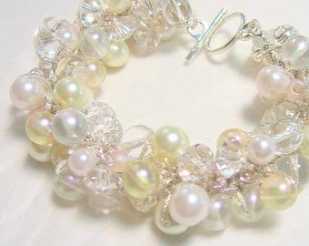 Sweet Pale Pink Bridal, Bridesmaid, Pearl  Crystal Bangle Bracelet LIMITED EDITION, Hand Knit Art, Original  Sereba Designs
