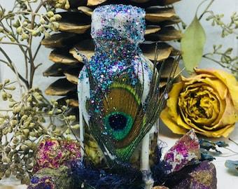 Rita's Peacock Totem Witch Bottle Shrine, Eyes of the Stars, Self Esteem, Transformation, Good Fortune