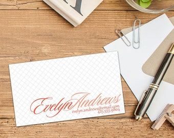 Script Calling Cards, Business Cards, Elegant Business Cards, Set of 50 Cards, Set of 100 Cards, Simple Personal Contact Cards