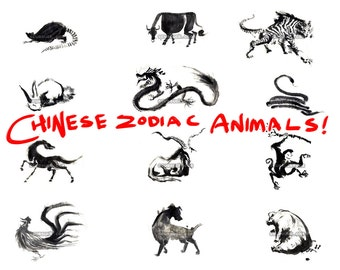 PRINTABLE || CLIP ART || Chinese Zodiac Clip Art for Chinese New Year | Lunar New Year scrapbooking!