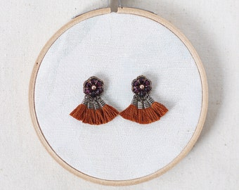 LARGE STUD earrings with TASSELS / vintage style earrings / handmade jewelry for her / wishpiece