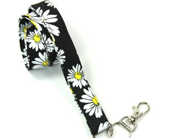 DAISY Fabric Lanyard, Floral Lanyard, Daisy Badge Holder, Black Lanyard, Flower Lanyard