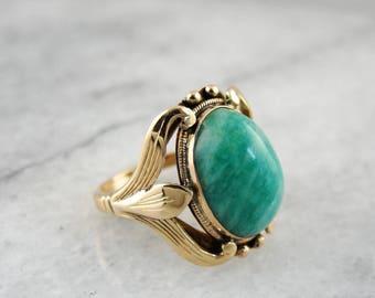 Beautiful Amazonite Ring in Original Antique Art Nouveau Floral Setting, Antique Amazonite Ring, Art Nouveau Estate Jewelry WPN19C-N
