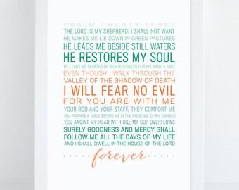 INSTANT DOWNLOAD - Psalm 23 - Bible Verse Wall Art - Scripture Print - DIY Printable - Christian Print