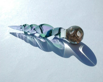"""Marble Cap Glass Dabber Tool -  Lavender Icicle - Spiral w/ Green Detail - Approx 3"""" Essential Oil Perfume Dauber - 16mm wave design cap"""