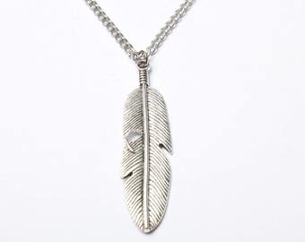 Large silver feather necklace, long pendant necklace,  feather pendant necklace, large feather, long silver necklace