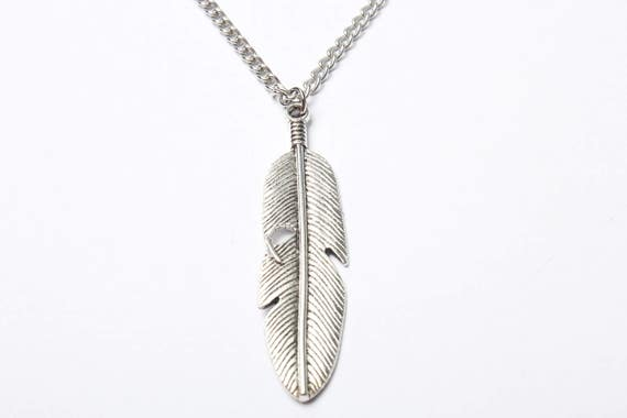 Large silver feather necklace long pendant necklace feather aloadofball Images