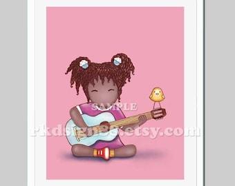 Guitar art print music art girls room, nursery art, nursery decor, kids decor, children art prints, African art Guitar Lesson 2, 8x10