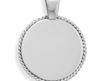 Sterling Silver ENGRAVABLE Pendant with Rope Edge