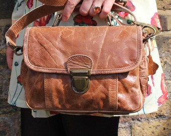 Funky Multi Compartment Distressed Tan Leather Bag