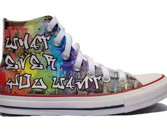 Street art custom converse Graffiti custom shoes / your words your idea