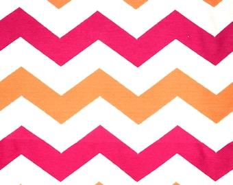 Pink Orange Chevron Zig Zag Upholstery Fabric