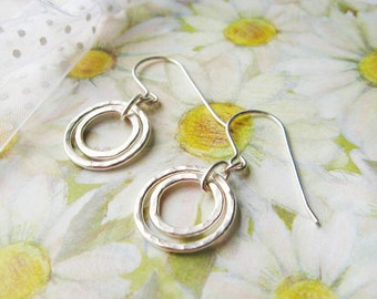 Sterling Silver Earrings - Everyday  Wear - Simple - Rings  Circles - Modern - Minimalist - Contemporary - READY TO SHIP