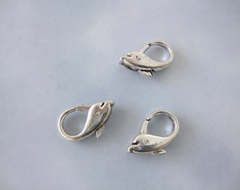 Dolphin Lobster Claw Clasp, Pewter Antique Silver Clasp,  18 x 12mm   5 pieces
