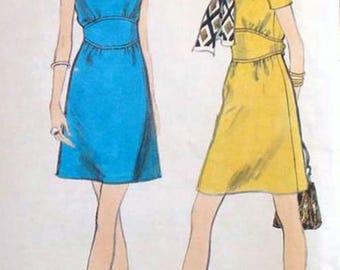 Vintage 1960s Mod A Line Dress w/ Midriff Inset Martingale belt Jewel Neckline Sewing Pattern Vogue 7804 Size 12 Bust 34