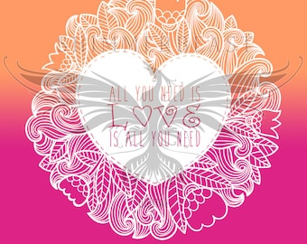 All You Need Is Love Mandala svg | Valentines svg | Valentine SVG | Heart Mandala SVG | Love svg | Mandala svg | Zentangle svg | Beatles svg