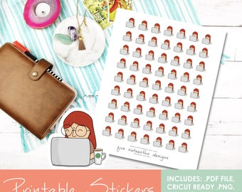 Printable Doodle Laptop Girl Lana Hand Drawn Stickers - Cricut Cut File, PDF, Black out File, Filofax, Kikki K,