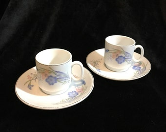 Demitasse Cups and Saucers - Set of Two - Fine China - Adorable Pink and Blue Flowers with Gold on Rim