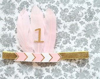 Beautiful Light Pink and Gold Arrow Feather Headband for Pink/Gold Tutu Dress First Birthday Baby Girl 6-18 Months Old