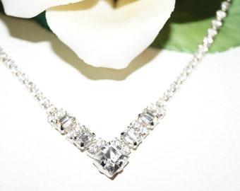 50's 60's Rhinestones Necklace Vintage