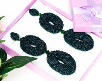 Two Oval Green Beaded Earrings  Oscar de La Renta Style Women Earrings Stud  Clip On Earrings Beadwork Jewelry Green oscar