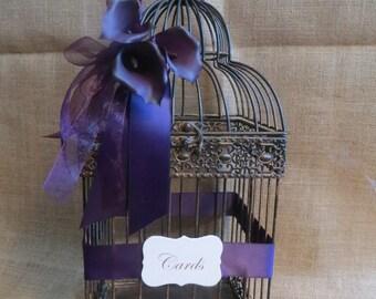 Pick your colors Wedding Bird Cage Card Holder, Vintage Style Wedding Decoration, Money Holder, Card Box, Cash Box, Wedding Birdcage