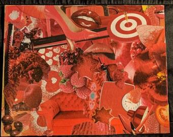 """original handmade collage """"Crimson"""""""