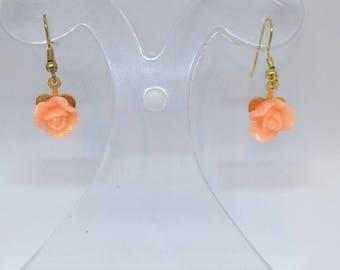Peach Resin Flower Dangle Dropper Earrings for pierced ears ladies gift handmade earrings gifts for her flower earrings
