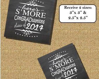 """S'more Graduation tag  favor tag 3""""x 3""""  and 2.5""""x2.5""""- Instant download Printable - Chalkboard tag SM5032  DIY (2- PDF files)"""