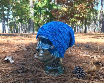 Blue Wool Slouchy Knit Hat