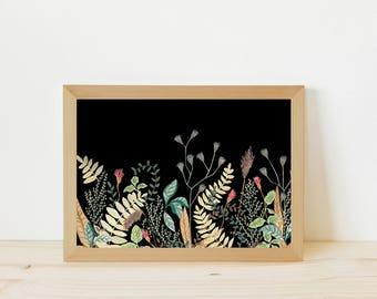 Floral drawing, floral illustration, flowers drawing, floral print, botanical illustration, botanique aquarelle, illustration, drawing