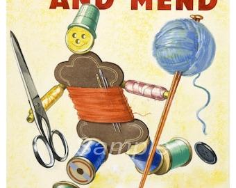 MD02 Vintage Make do and Mend War Poster Print