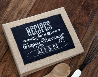 personalized bride recipe holder book binder cookbook recipes for a happy marriage