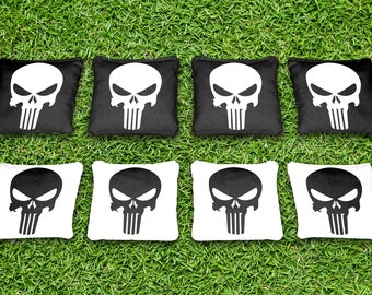 Punisher Black and White Themed Custom Cornhole Bags Set of 8 - Made in the USA! Corn or All Weather Plastic Resin Filled