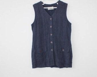 Linen Tunic Top, Linen Womens Clothing, Linen Blouse, Linen Top, Linen Shirt, Boho Blouse, Navy Blue Shirt, Navy Blue Linen Top Tunic L