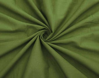 """Olive Green Fabric, Apparel Fabric, Indian Decor, Sewing Fabric, Dress Material, 53"""" Inch Cotton Fabric By The Yard ZBC7598H"""