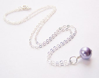 Purple Glass Pearl Necklace - Matching earrings and bracelet also available - other colors available - sets - weddings - FREE shipping wai