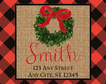 Christmas Address Labels, Red Black Buffalo Check Burlap Wreath Square Stickers, Address Labels, Preppy Labels, Bookplate, Class Parties